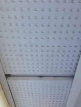 Original porch roof, perforated sheet metal (aluminum)